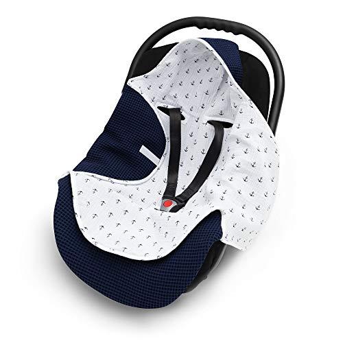 EliMeli Einschlagdecke für Babyschale 100% Baumwolle - Leichte Baby Decke für Autositz aus Waffelstoff und Musselin für den Sommer und Frühling, universal z.B. Maxi Cosi (Marineblau)