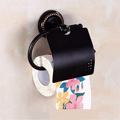 ZYQHJKLHK Soporte para Papel higiénico de latón con dispensador de Tapa Soporte para Rollo de Papel tisú a Prueba de óxido montado en la Pared para Almacenamiento en el baño (Color: Negro)