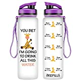 LEADO 32oz 1Liter Motivational Tracking Water Bottle with Time Marker - You Bet Giraffe - Funny Mothers Day, Birthday Gifts for Women, Friends, Mom, Daughter, Sister, Wife, Girlfriend, Coworker, Her