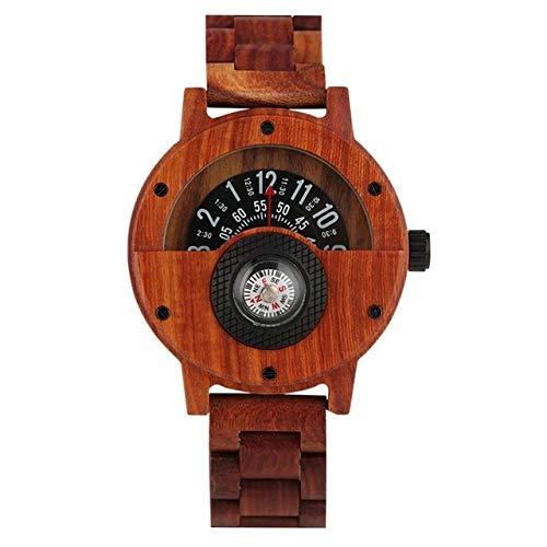 FFHJHJ Holzuhr Brown Quartz Wooden Watch für Herren Plattenspieler Zifferblatt mit Kompass Holzuhr Praktische Holzband Armbanduhr, Red Watch