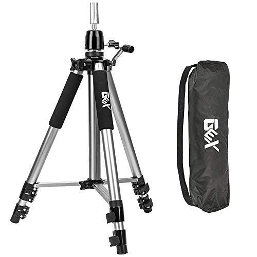 GEX Heavy Duty Canvas Block Head Tripod Cosmetology Training Doll Head Stand Mannequin Manikin Head Tripod Wig Stand With Travel Bag (Silver (Version 1.0))
