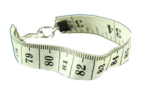 Miniblings Cinta metrica la Regla de medicion Cinta metrica Pulsera Upcycling Reciclaje Blanco - Joyas Hechas a Mano de la Moda - Damas Pulsera de Nina