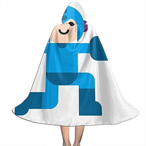 Not Applicable Disfraz De Mago,Megaman Simple Artwork Custom Wizard Cloaks with Hat For Wizard Costumes Cosplay 138cm
