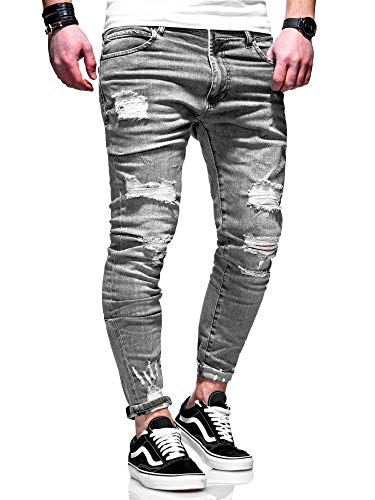 behype. Herren Destroyed Stretch Jeans-Hose Used 80-6376 Grau W34/L32