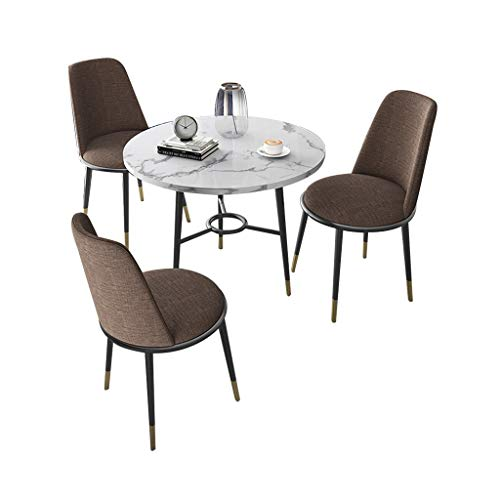 Combination chair Kitchen Dining Chairs,Marble Small Round Table Fabric Metal Legs Chair Combination Sales Office Reception Lounge Side Chair (Color : Brown)