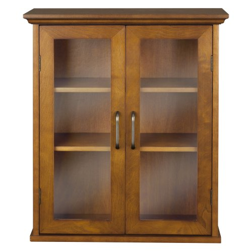 Elegant Home Fashions Anna Wall Cabinet with 2-Door, Oil Oak