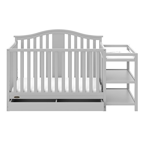 Graco Solano 4-in-1 Convertible Crib with Drawer and Changer (Pebble Gray) - JPMA-Certified Crib and Changer, Attached Changing Table with 2 Shelves, and Water-Resistant Changing Pad
