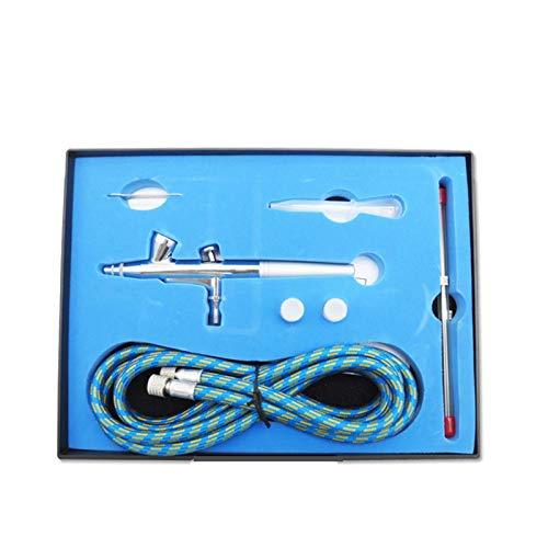 ReedG Aérographe Kit d'aérographe, kit de Pinceau à Double Action avec Aiguille de 0.2mm / 0,5 mm pour Une Aiguille complète pour L'artisanat d'art (Color : Silver, Size : 175x235x45mm)