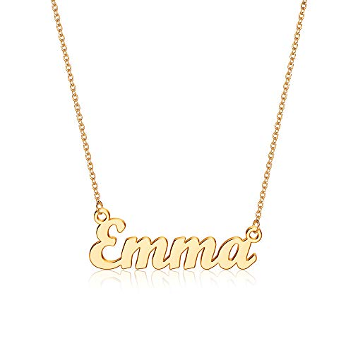 Yesteel Emma Necklaces Name Necklace Personalized, Stainless Steel Gold Custom Pendant Necklaces for Women, Script Emma Name Necklace Name Plate Jewelry Gifts for Women Girls