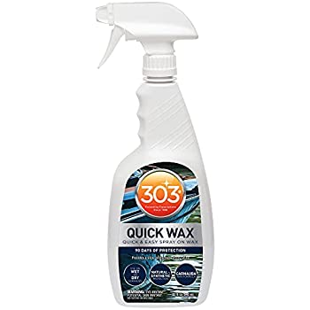 303 Marine Quick Wax - Quick And Easy Spray On Wax - 90 Days Of Protection - Provides a Slick Protective Glossy Shine - Use On Wet Or Dry Surfaces - Carnauba Wax 32 fl oz  30213