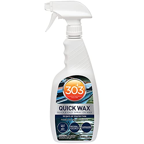 303 Marine Quick Wax - Quick And Easy Spray On Wax - 90 Days Of Protection - Provides a Slick, Protective, Glossy Shine - Use On Wet Or Dry Surfaces - Carnauba Wax, 32 fl. oz. (30213)
