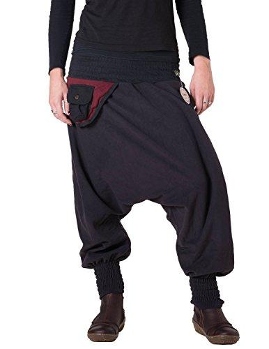 Vishes - Alternative Bekleidung - Warme Thermo Haremshose aus Fleece mit Tasche und weichem Jersey Bund Schwarz-Rot