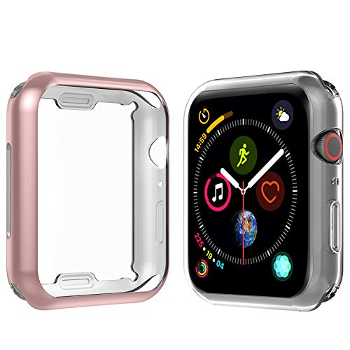 Anjoo [2 Set] Funda Compatible Para Apple Watch 40mm, Suave TPU Completo Protector Pantalla Para iWatch 40mm Serie 5 Serie 4, Transparente/Oro Rosa