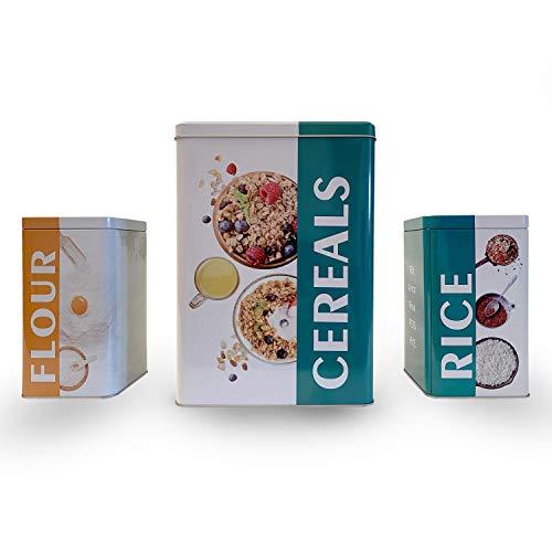 Envases para Alimentos, Botes de Cocina, Juego de 3 Piezas de recipientes para Almacenamiento, Tarro de Metal para, Arroz, Harina, Cereales Recipiente hermético con Tapas… (2 UNIDADES 1 CEREAL)