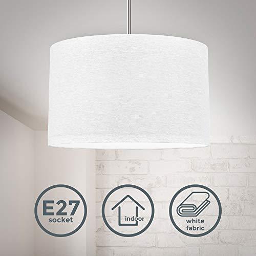Lampada a sospensione in tessuto bianco, attacco per lampadina E27 non inclusa, paralume diametro 38cm, Lampadario moderno per sala da pranzo o camera da letto, IP20