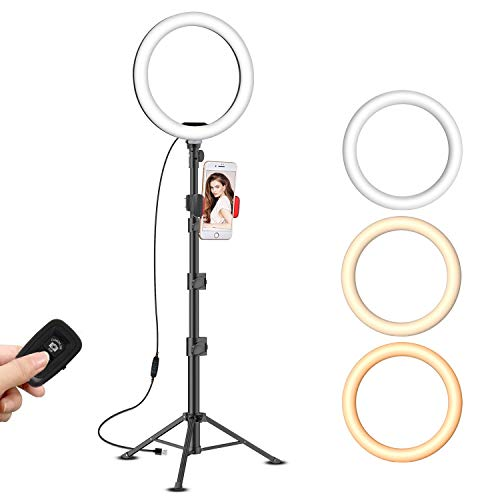 10' Selfie Ring Light with with Extendable Tripod Stand & Cell Phone Holder for Live Streaming/Tiktok/Makeup, Yesker Desktop Led Ringlight for YouTube Video, Compatible with iPhone/Android