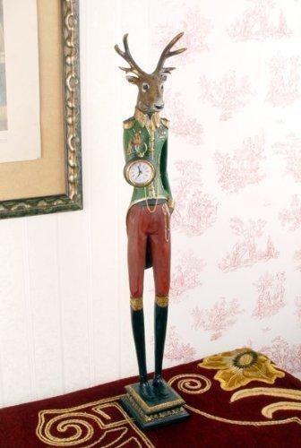 Alpenglück Uhr Hirsch Skulptur Vintage Landhausstil Kaminuhr Hirschfigur Deko TVC022 Palazzo Exklusiv