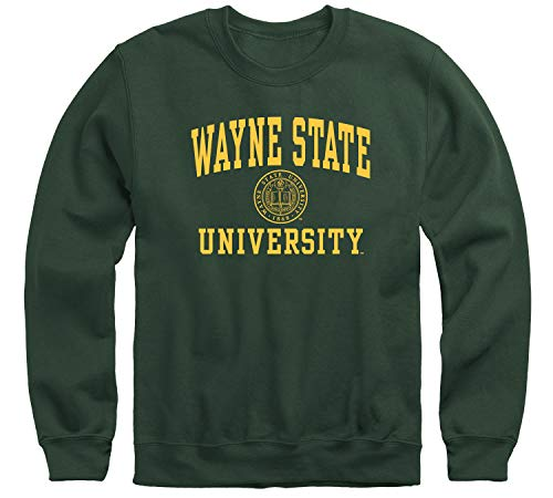 Ivysport Wayne State University WSU Warriors Adult Unisex Crewneck Sweatshirt, Heritage, Hunter Green, Small