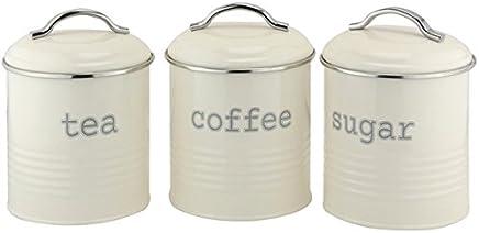 EHC Set of 3 Airtight Tea Sugar and Coffee Storage Canister Jars, Cream, Tinplate, 12 x 12 x 14 cm
