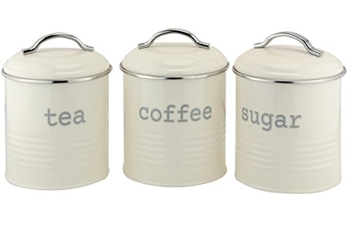 EHC Set of 3 Airtight Tea Sugar and Coffee Storage Canister Jars, Cream