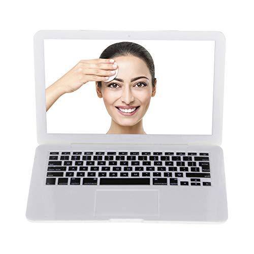 Beito Specchio per il trucco a forma di laptop 1PC Mini Hand Held Specchio per la tasca da viaggio Portable Compact Make up Specchio per lo strumento cosmetico Perfetto (bianco)