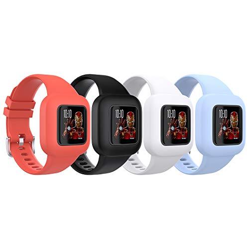 TiMOVO Correa de Reloj Compatible con Garmin Vivofit jr 3, [4 pcs] Banda de Reloj Respirable y Reemplazable, Pulsera Ajustable de Silicona para Niños - Rojo & Negro & Blanco & Azul Aciano
