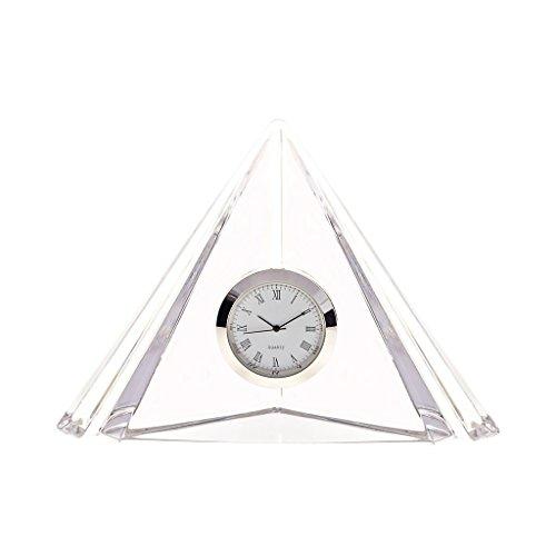 CRISTALICA Design Blockuhr Pyramide Silbernes Uhrwerk H 10 cm