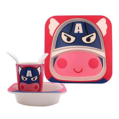 Vajilla de bambú bebé e Infantil -WENTS Juego de desayuno 5 piezas, bambú, con plato, vaso, cuenco, tenedor y cuchara, Material ecológico sin BPA Animales, Apto para lavavajillas