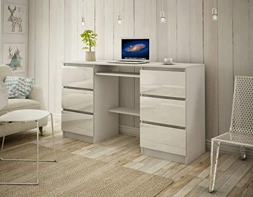 Megaastore Schreibtisch 6 Schubladen Schülerschreibtisch Computertisch Arbeitstisch Kinderschreibtisch PC-Tisch Kinderzimmer Jugendzimmer 140 x 76 x 50 cm | Hochglanz Weiss