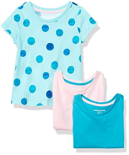 Amazon Essentials Girls' 3-Pack Short-Sleeve Tee fashion-t-shirts, mehrfarbig(Painted Dots), Medium