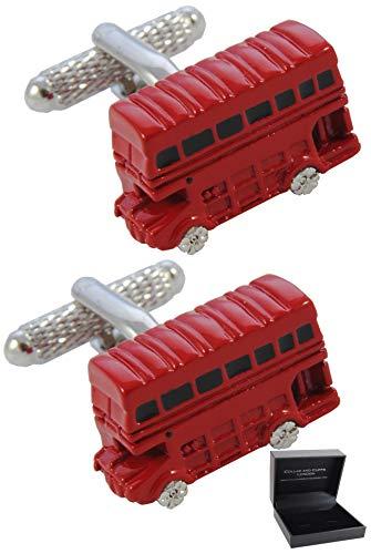 COLLAR AND CUFFS LONDON - HOCHWERTIGE Manschettenknöpfe mit Geschenk Box - Londoner Bus - England Britisch Klassisch Transport - Stilvolle Messing - Rot Farbe