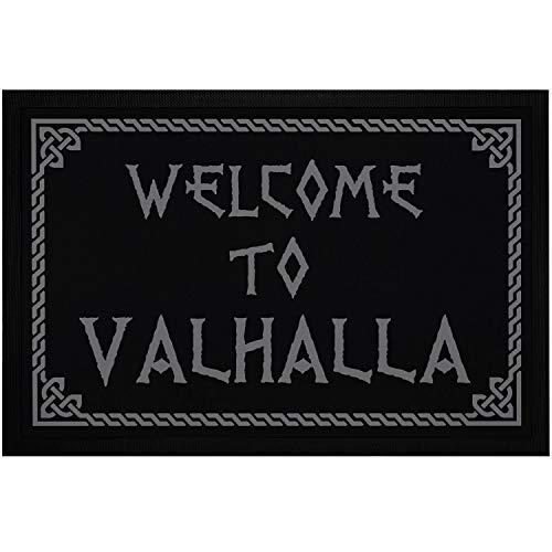 MoonWorks® - Felpudo con texto 'Welcome to Valhalla Vikinger, antideslizante, lavable, color negro, 60 x 40 cm