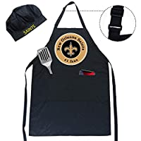 Topfans Fit Saints New Orleans Adjustable Water-Resistant Apron, Chef hat, Two Spacious Pockets, Unisex, Fully Reflecting The Attributes of Fans (Saints Apron)