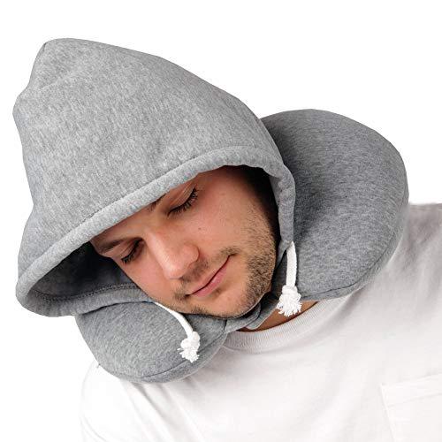 Bestgoodies Kapuzen Nackenkissen, Hoodie Kissen in Grau - Ideal als Kopkissen für Reisen - Regular Size Nackenstützkissen für Kinder und Erwachsene