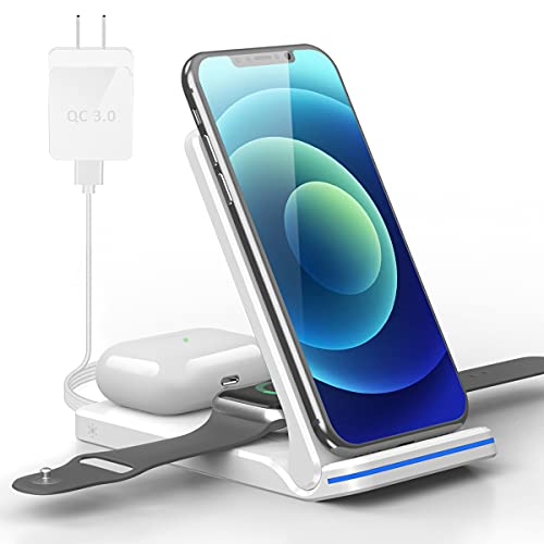 Foldable Wireless Charger, 3 in 1 Fast Wireless Charging Stand for iPhone 13/12/12 Pro/11/11 Pro Max/XR/X/Xs/8...