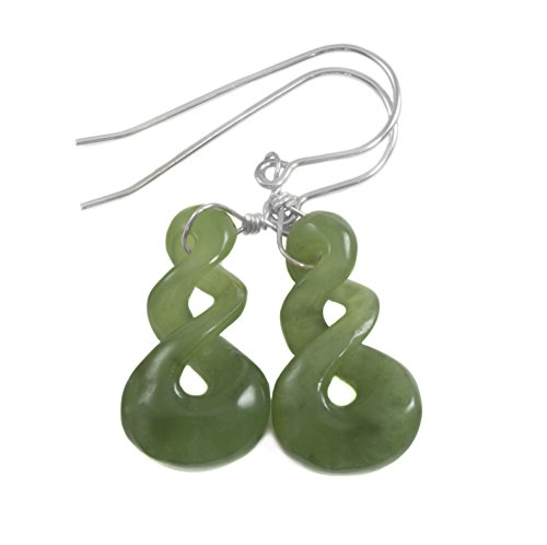 Sterling Silver Nephrite Green Jade Earrings Carved Triple Infinity Unique Drops 1.5 Inches