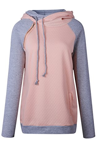 ECOWISH Damen Kontrastfarbe Pulli Pullover Rollkragen Sweatshirt Kapuzenpulli Top Hoodies Rosa L - 4