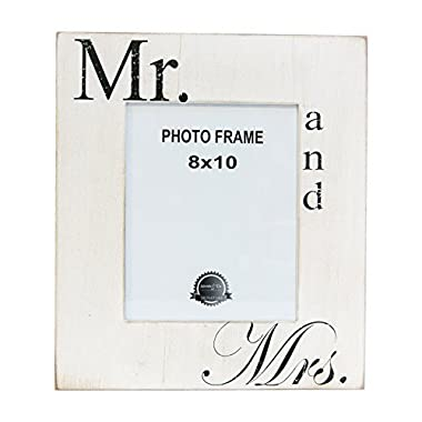 Mr. and Mrs. White Black 14 x 16 Inch Wood Easel Back Wall Plaque Photo Frame