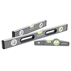 "12"", 24"" levels feature with lightweight strong box beam frame design with smooth sides 9"" handy light metal casing in an especially slim form - extremely sturdy 9"" Spirit level features with milled measuring surface and 3 pieces of strong button mag..."