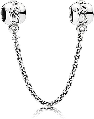 MsRosy Cadena de seguridad familiar con dijes auténticos de plata de ley S925 con cierre de cadena de seguridad para pulseras con bolsa de regalo