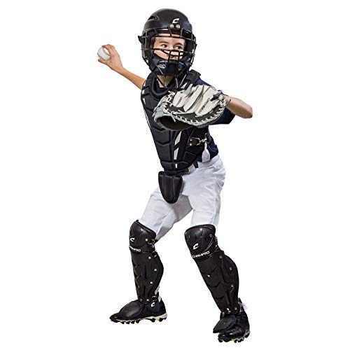 CHAMPRO Helmax Youth Baseball Catcher's Gear Box Set, Black, Ages 6-9 (CBSY69B)