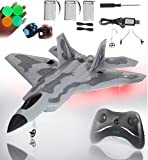 RC Jet Plane 2.4GHz Remote Control Airplane Gift for Kids and Adults Toys - Model Led Light Aircraft Fighter Army Toy with Extra 3 Battery, Easy to Flying Toys for 6 7 8 9 10+ Year Old Boys and Girls
