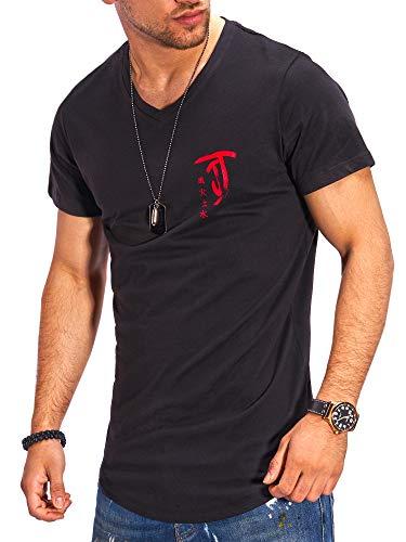 JACK & JONES Herren T-Shirt V-Neck Print Shirt (M, Black/Tango Red)