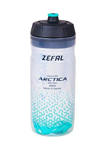 ZEFAL 55 Arctica-Bidon 550 y 750 ML-Botella isotérmica para bicicleta sin BPA y resistente al agua, sin BPA, Ciclismo, Verde Caribe, cl