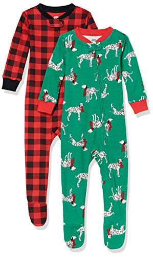 Amazon Essentials Infant Boys Snug-Fit Cotton Footed Sleeper Pajamas, 2-Pack Christmas Dog/Buffalo Plaid, 18-24M