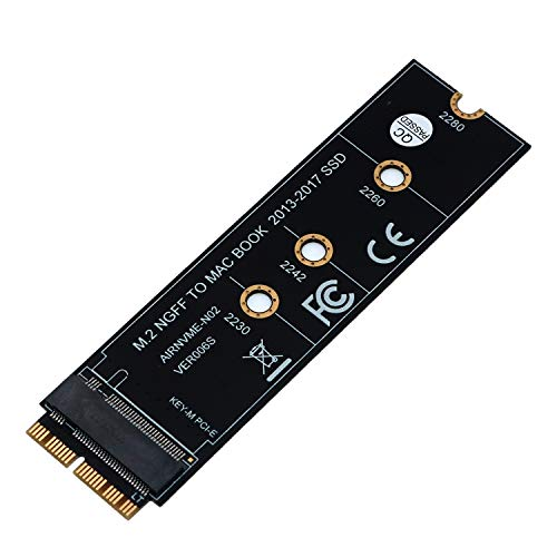 M.2 NVME SSD Convert Adapter Card for MacBook Air Pro Retina (Year 2013-2017), NVME/AHCI SSD Upgraded Kit for A1465 A1466 A1398 A1502 (Black Adapter)