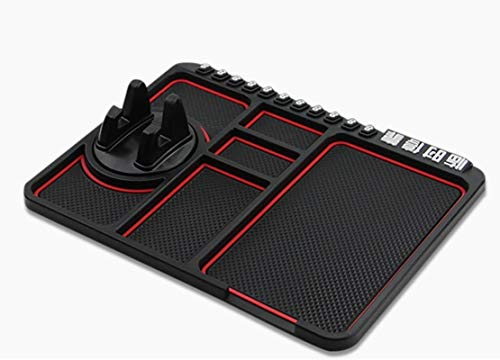 Cell Pads Non-Stick Anti-Slide Dash Cell Phone Bracket Mat Car Dashboard Sticky Pad Adhesive Anti Mat for Mobile Phone/ Electronic Gadgets GPS (9.76'' × 7.28'', Red)