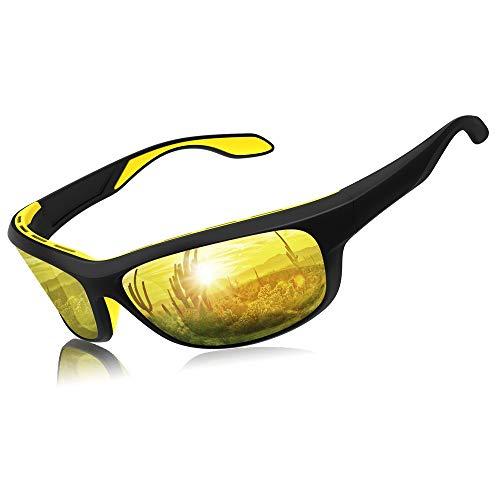 Elegear Gafas de Sol Deportivas Hombre Polarizadas Anti Rayos UVA UV Marco y TR90 Lente Espejo con REVO Anti Aceite Gafas Hombre y Mujer Bici Running Coche MTB Moto Montaña Esquí(Amarillo)