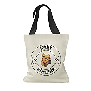 Custom Canvas Tote Shopping Bag I Love Paw My Alano Espanol Dog Reusable Beach for Women 44