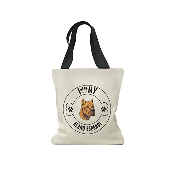 Custom Canvas Tote Shopping Bag I Love Paw My Alano Espanol Dog Reusable Beach for Women 1